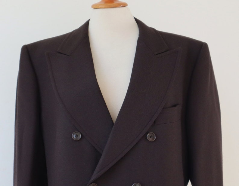 Very Nice Double Breasted Brown 70s Vtg Mens Jacket  Marus Quality Jacket With Big Collar  100/& Pure Wool  Unisex