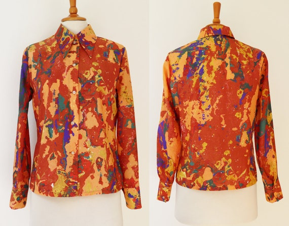 70s Vtg. Ladies Blouse With Abstract Pattern // Bi