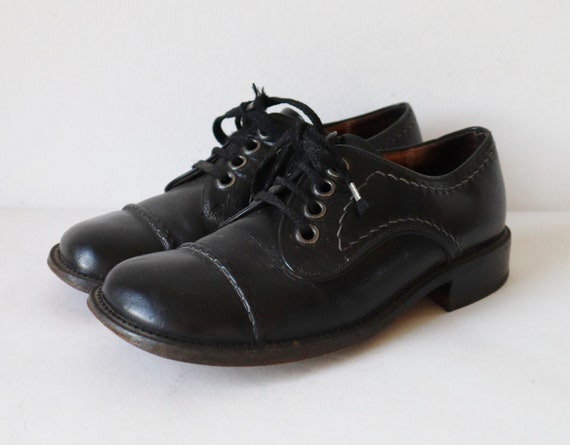 Black 70s Vintage Lace Up Leather Shoes With Stitc