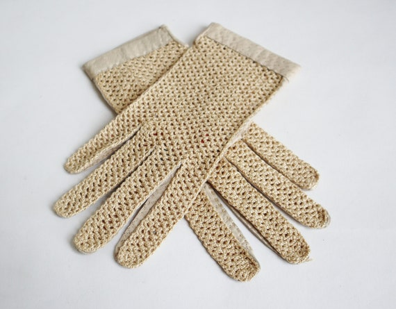 Sand Colored Leather/Fabric Gloves // Driving Glov