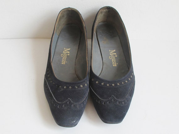 Dark Blue 60s Suede Shoes // Magasin // Size 38 - image 2
