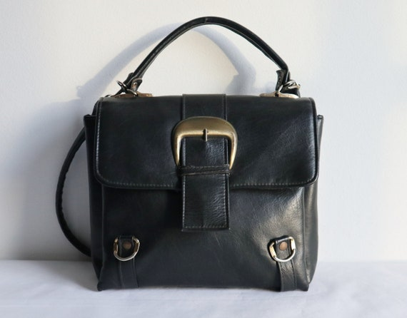Black 60s Vtg. Vegan Bag // Shoulder Bag/Top Handl