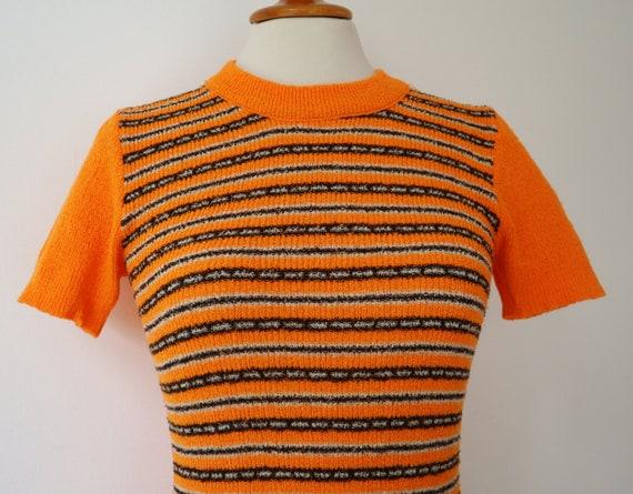 Orange 60s Slim Fit Blouse // Fitted Top With Bro… - image 4