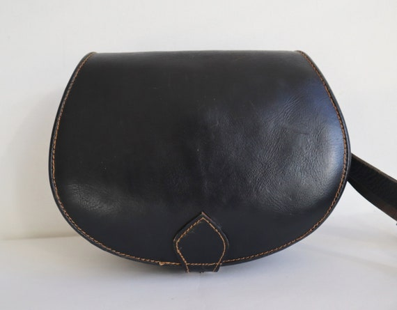 Black  Leather Shoulder/Crossbody Bag // Black Sad
