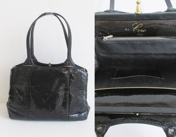 Black 60s Vintage Top Handle Bag  // Golden Closur