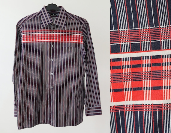 Blue White Red Striped Men Shirt With Big Collar /