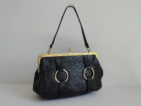 Black 60s Vintage Vegan Top Handle Bag With Golden