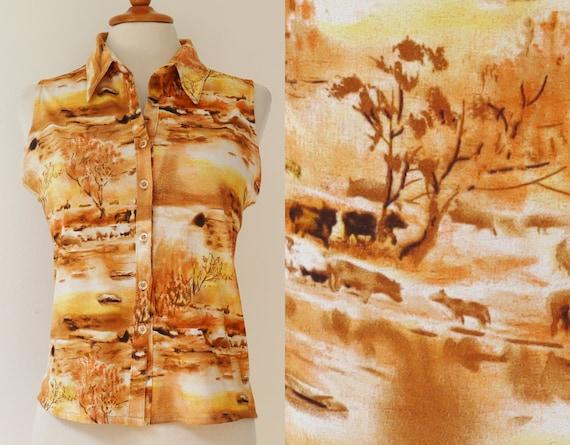 Vintage Lady Shirt // Novelty Print // Trees & Ani