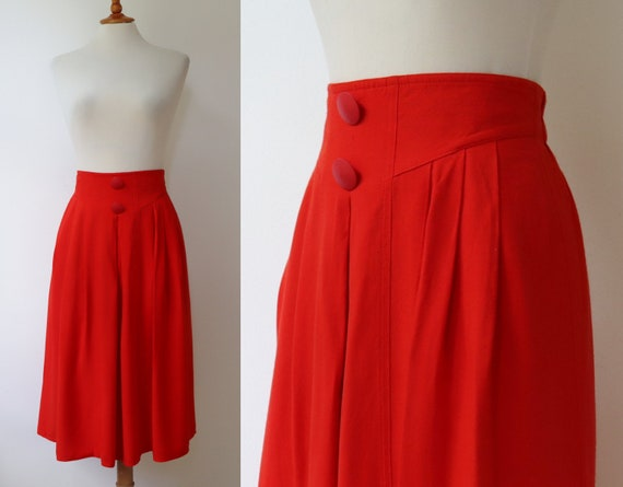 Red 80s High Waisted Vintage Skirt // New Fast //