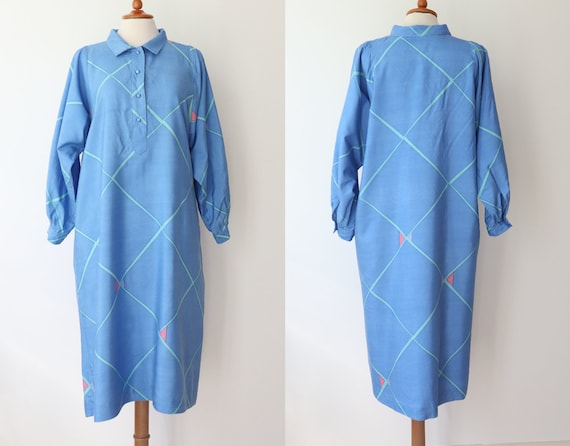 Blue 60s 70s Shirt Dress With Beautiful Print In … - image 3