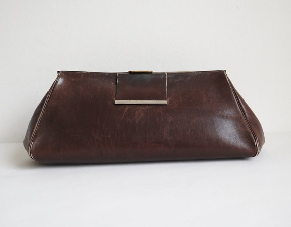 Distressed 40s 50s Hand/Clutch Bag // Brown With G