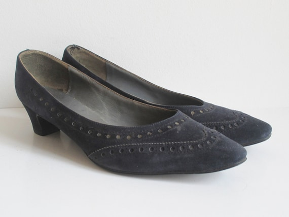Dark Blue 60s Suede Shoes // Magasin // Size 38 - image 9