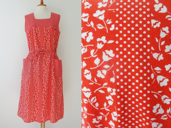 Red 70s vintage summer dress with white flowers and dots etsy image 0 mightylinksfo