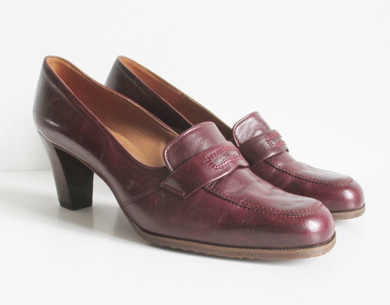 b532ef803b6be Bally Suisse Vintage Burgundy Leather Shoes // Sporty // Size 39 // Made In  Switzerland