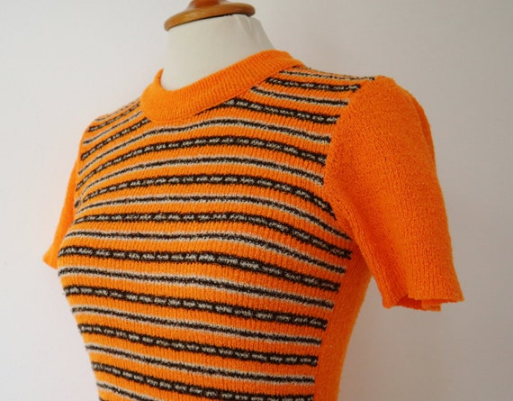 Orange 60s Slim Fit Blouse // Fitted Top With Bro… - image 5