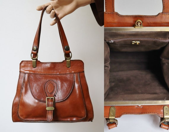 60s Vintage Leather Top Handle Bag With Golden Buc