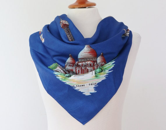 Blue Vtg. Souvenir Scarf // Bonjour Paris // Made… - image 4