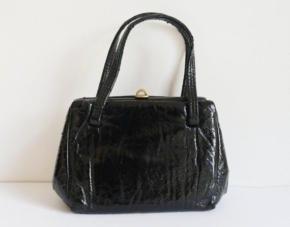 Black 60s Vintage Top Handle Vinyl Bag  // Golden