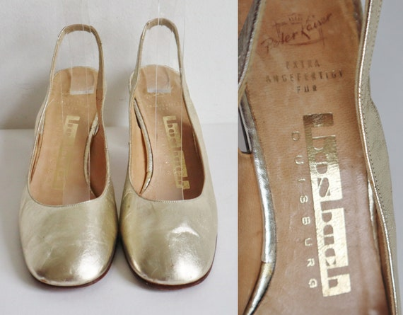 Golden 60s Leather Slingback Pumps  // Peter Kaise