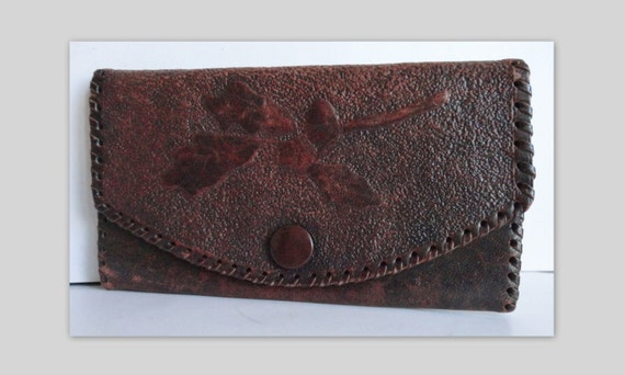 30s Vintage Wallet // Tooled Leather