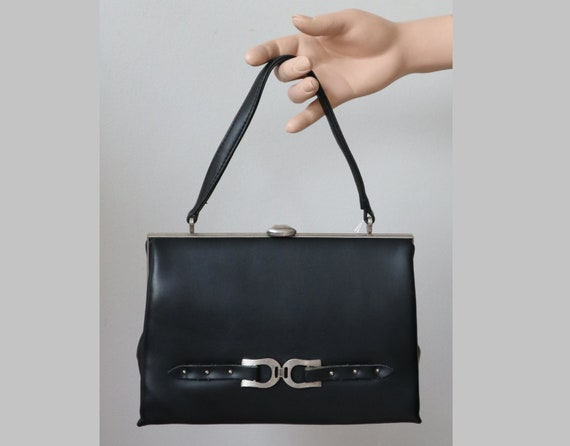 Black 60s Vintage Top Handle Bag With Silver Buckl