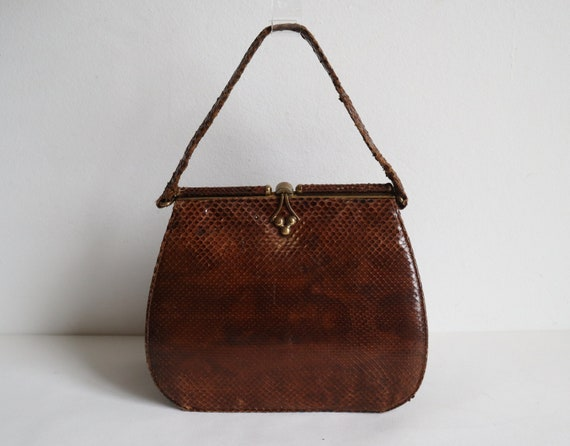 Brown 50s Leather/Reptile Top Handle Bag // Snake