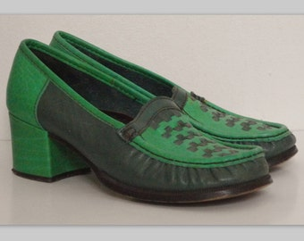 70s Vintage Leather Shoes // Green // Size 37