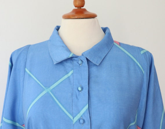 Blue 60s 70s Shirt Dress With Beautiful Print In … - image 4
