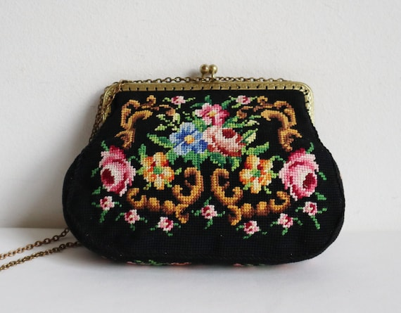 60s Hand Embroidered Top Handle Bag With Flowers /