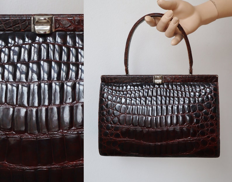Top Handle Bag With Golden Closure  Faux Reptile Bag Brown 60s Vtg