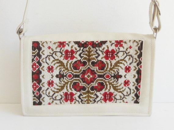 60s Tapestry Vintage Vegan Bag // Ivory Red Green