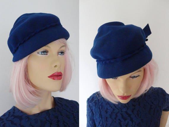 Blue 50s Vintage Felt Hat // Size 54