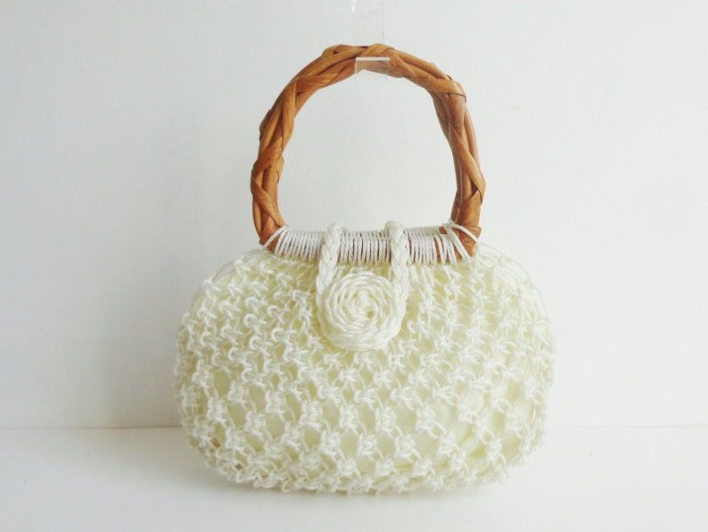 White 60s Vintage Vegan Top Handle Bag With Rattan Handle image 0