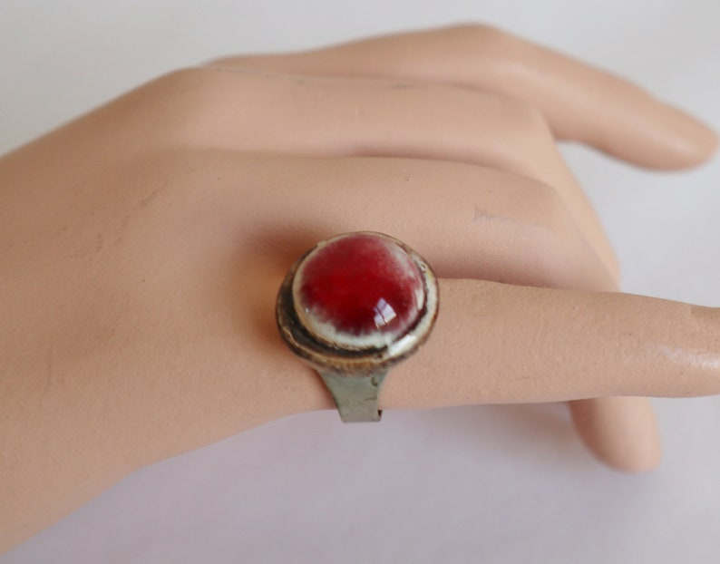 Raw 70s Pewter Vintage Ring With RedWhite Stone  Adjustable Fits All