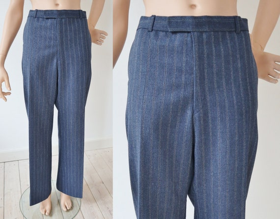 Vintage 70s Blue Yellow Striped Sports Pants Mens Unisex Waist Size 27 in