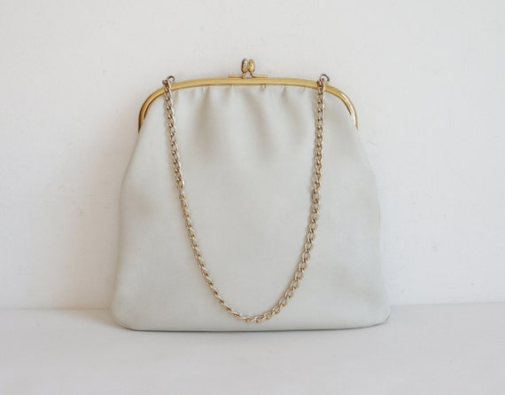 Ivory 60s Vtg. Vegan Top Handle/Shoulder Bag With