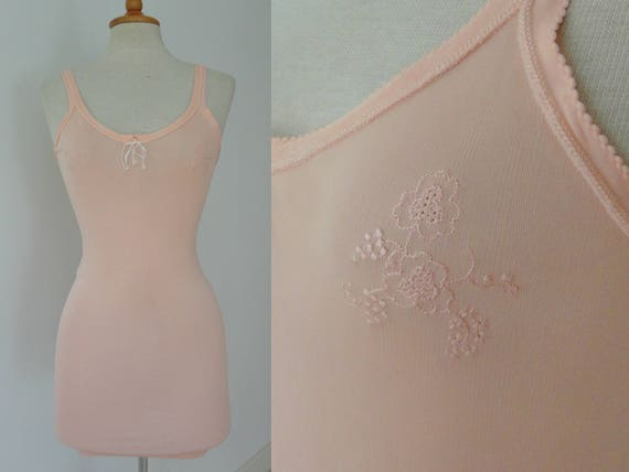 40s Rayon Peach Lingerie Top With Flower/Grape Sti