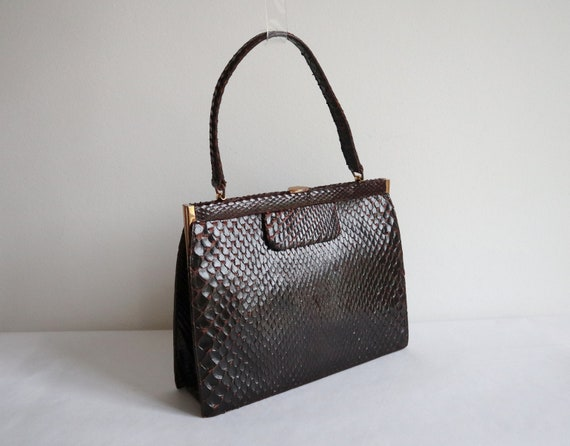 60s Reptile Top Handle Bag // Golden Closure