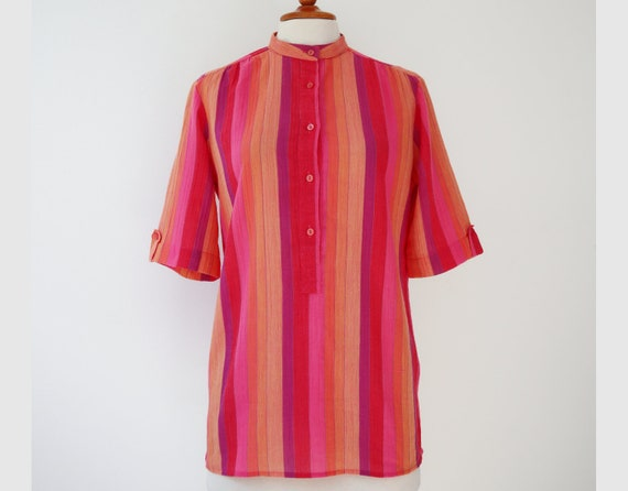 Colorful 70s Vintage Blouse With Stripes // Size 3