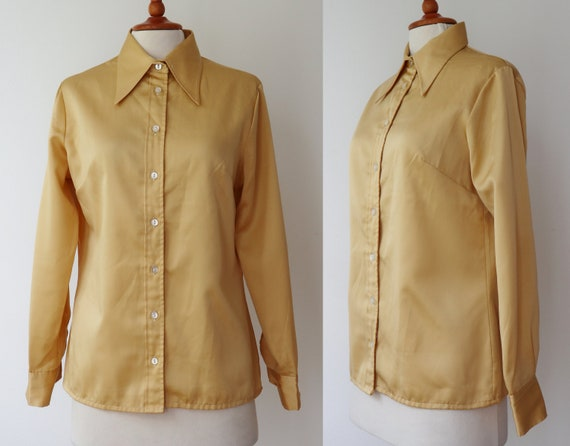 Golden 70s Vintage Blouse // Big Collar // Size 44