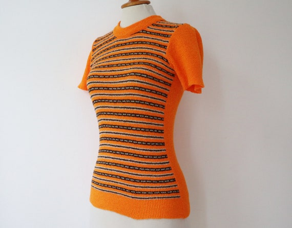 Orange 60s Slim Fit Blouse // Fitted Top With Bro… - image 2