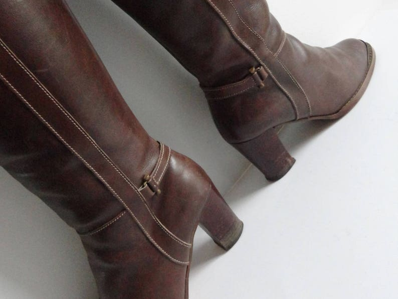 c7e7aa8de615b Brown Short 70s Vintage Leather Boots // Metal On Toe // Gold Buckle //  Weltschuch // Size 37,5 // Made In Germany