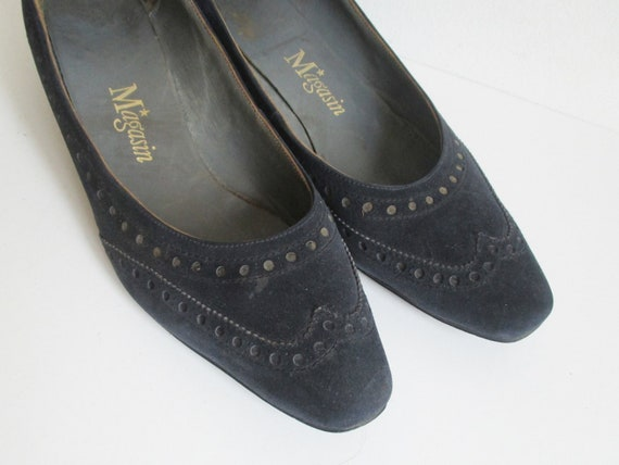 Dark Blue 60s Suede Shoes // Magasin // Size 38 - image 3