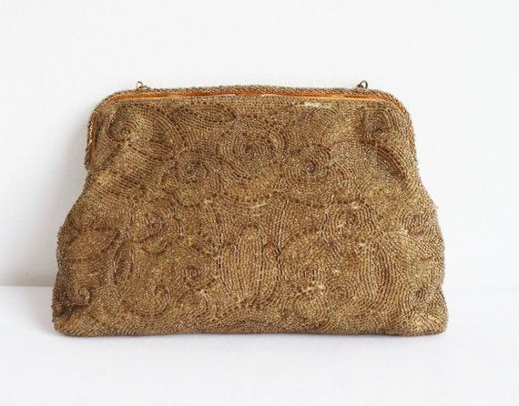 60s Golden Beaded Vintage Bag With Golden Closure… - image 5