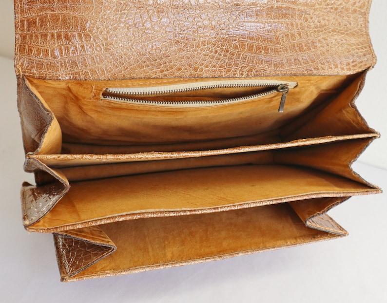 Beige 60s Vintage Top Handle Bag With Silver Closure  Faux Reptile Bag