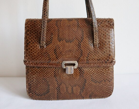Brown 60s Leather/Reptile Top Handle Bag // Snake