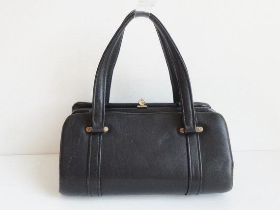Black 60s Vintage Top Handle Leather Bag With Gold