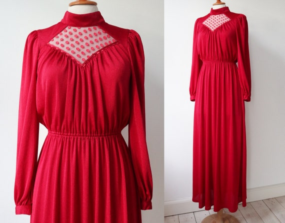 Lovely Red 70s Vintage Maxi Dress // High Neck //… - image 4