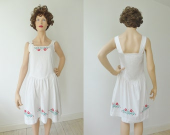 Lovely White Strap Summer Dress With Red Embroidered Flowers // Cotton