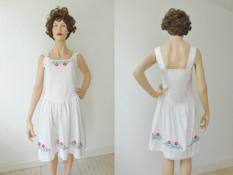 Lovely White Strap Summer Dress With Red Embroidered Flowers image 0